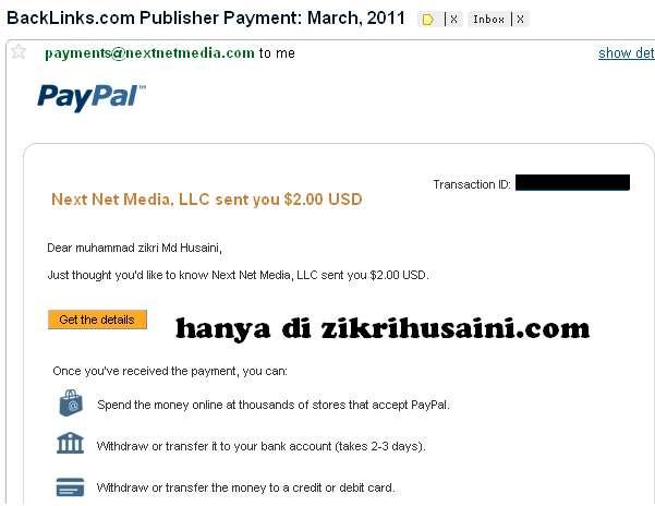 backlinks.com , payment from backlinks.com, bayaran pertama dari backlinks.com,